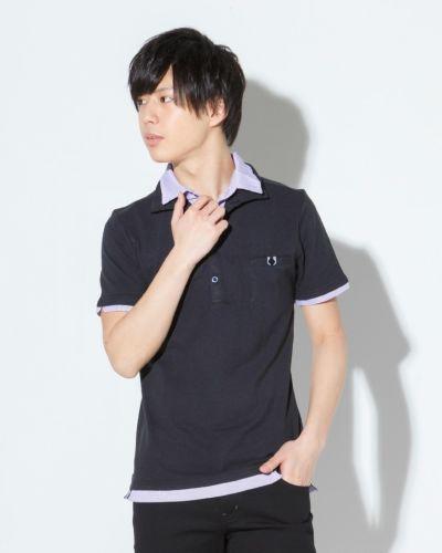 フェイクレイヤード半袖ポロシャツ(ブラック)
