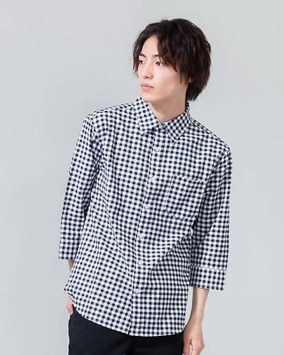 七分袖チェックシャツ(ブラック)