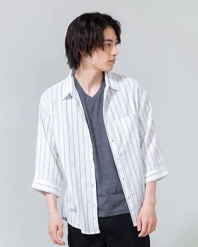 綿麻ストレッチ七分袖シャツ(ホワイト×ネイビー)