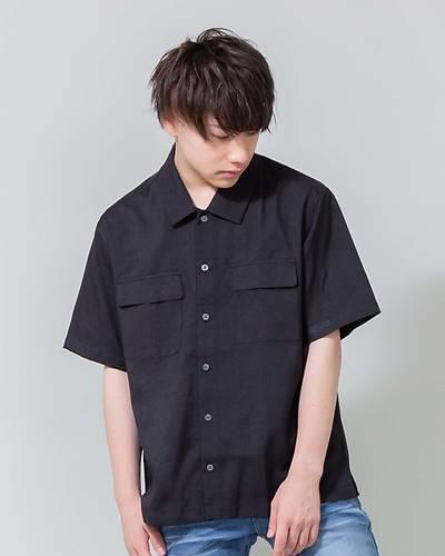 ポリトロ半袖ワークシャツ(ブラック)