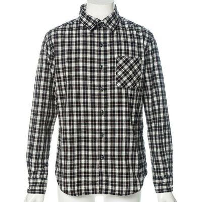 タータンチェック長袖シャツ(ネイビーxホワイト)