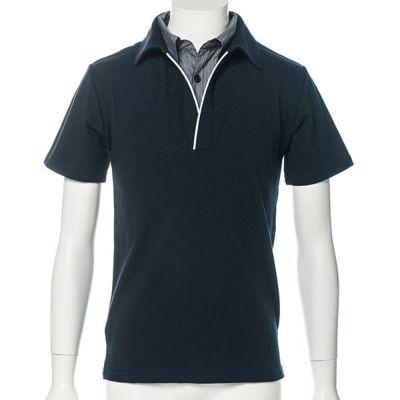 鹿の子編み襟元レイヤード半袖ポロシャツ(ネイビー)