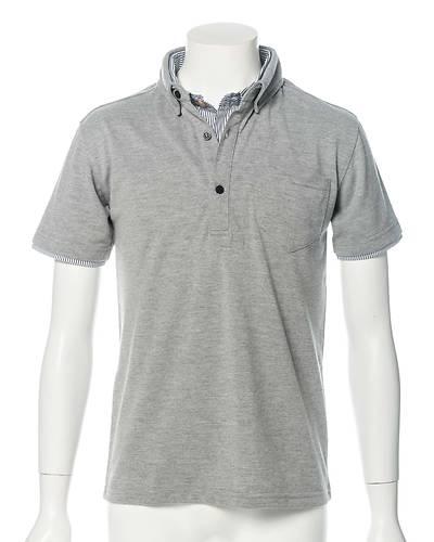 ダイヤジャガードフェイクレイヤード半袖ポロシャツ(グレー)