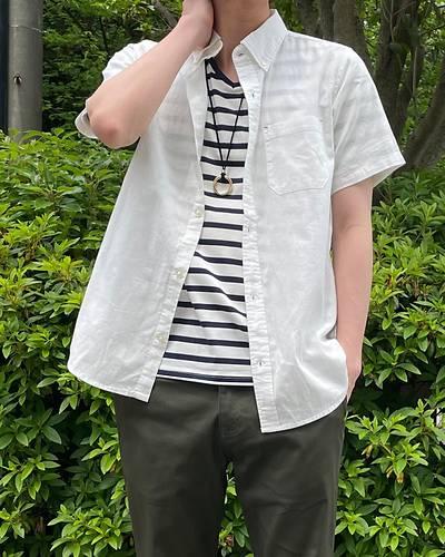 綿麻半袖シャツ+ボーダー半袖Tシャツアンサンブル(2点セット)(ホワイト)