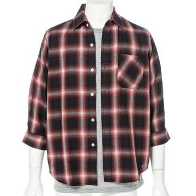 オンブレチェック七分袖シャツ+半袖Tシャツアンサンブル(2点セット)(レッド)