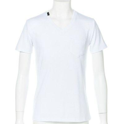 クールマックスフライスVネック半袖Tシャツ(ホワイト)