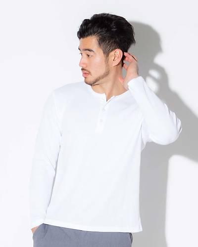 ヘンリーネック長袖Tシャツ(ホワイト)