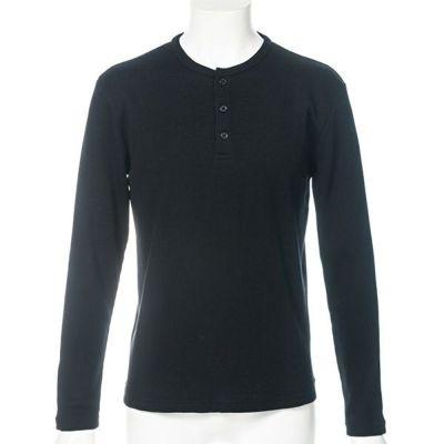 ヘンリーネック長袖Tシャツ(ブラック)