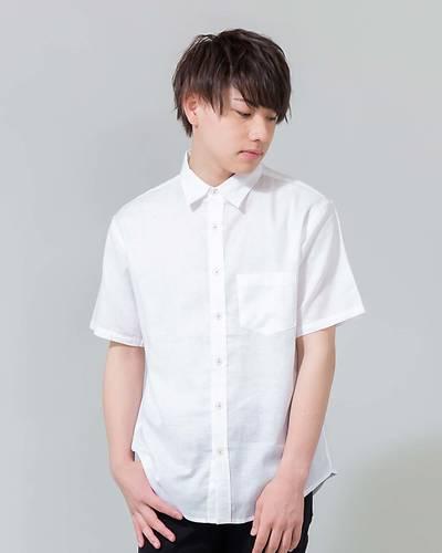 綿麻ストレッチレギュラー半袖シャツ(ホワイト)