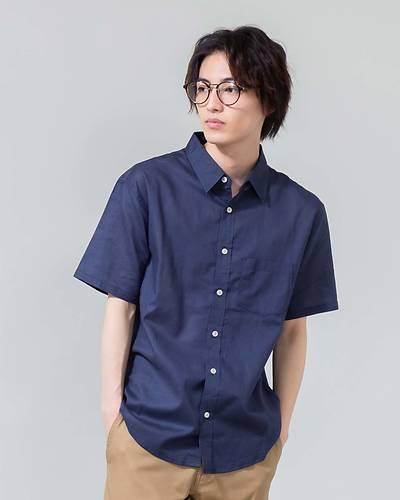 綿麻ストレッチレギュラー半袖シャツ(ネイビー)
