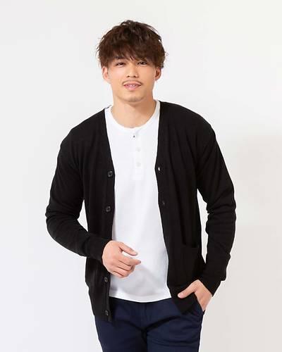 カシミヤタッチ長袖カーディガン(ブラック)
