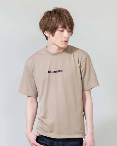 裾コード使い刺繍入り半袖ビッグTシャツ(ベージュ)