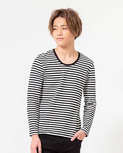 スパンフライスUネック長袖Tシャツ(ホワイトxブラック)