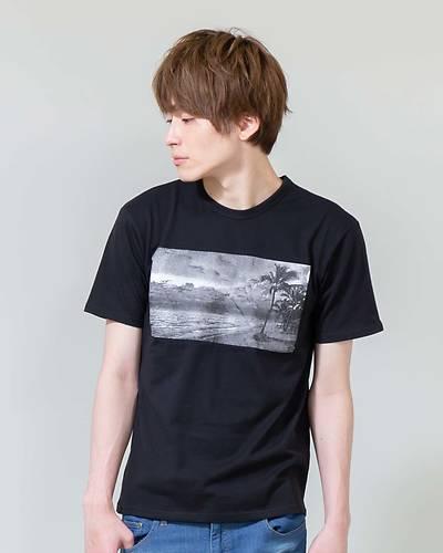 プリント半袖Tシャツ(ブラック)
