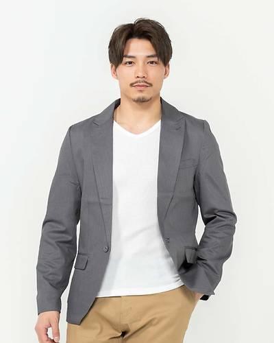 長袖テーラードジャケット(グレー)