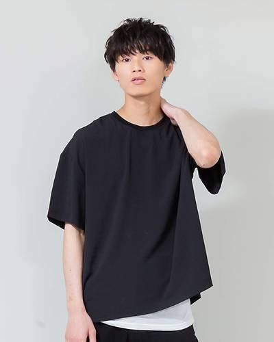 ストレッチジョーゼット五分袖Tシャツ+タンクトップアンサンブル(2点セット)(ブラック)