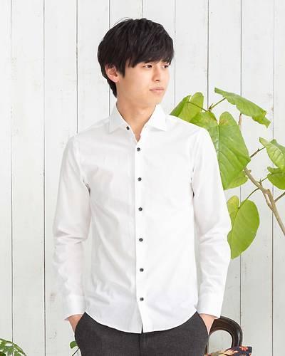 日本製ワイドカラー長袖シャツ(ホワイト)