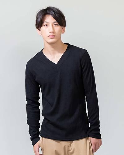 ランダムテレコVネック長袖Tシャツ(ブラック)