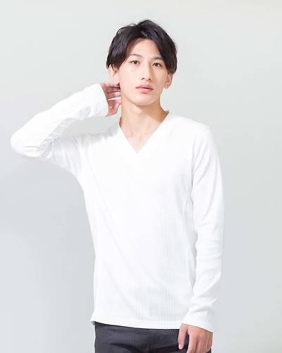 ランダムテレコVネック長袖Tシャツ(ホワイト)