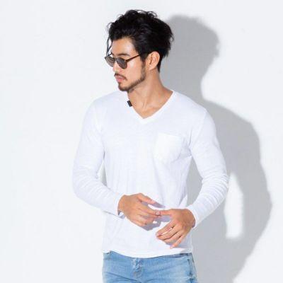 フライスVネック長袖Tシャツ(ホワイト)