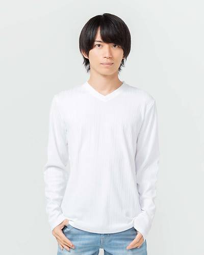 Vネック長袖Tシャツ(ホワイト)