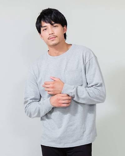 USAコットン長袖Tシャツ(グレー)