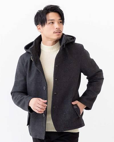 【1品から送料無料】カルゼ脱着フードジャケット(ブラック)