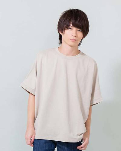 インレイミニ裏毛BIG半袖Tシャツ(グレージュ)