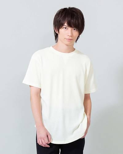 ガゼット付きワッフル半袖Tシャツ(アイボリー)