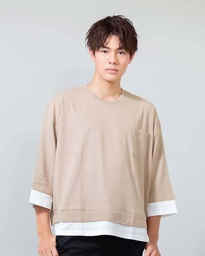 ビックシルエットフェイク長袖Tシャツ(ベージュ)