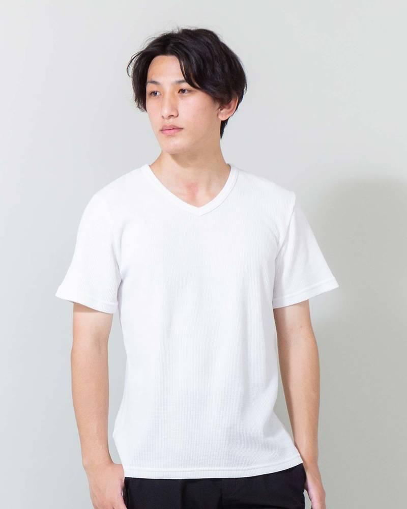 ワッフルVネック半袖Tシャツ(ホワイト)