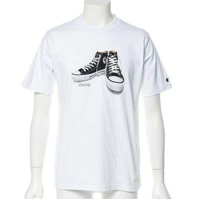 CONVERSEシューズプリント半袖Tシャツ(ホワイト)