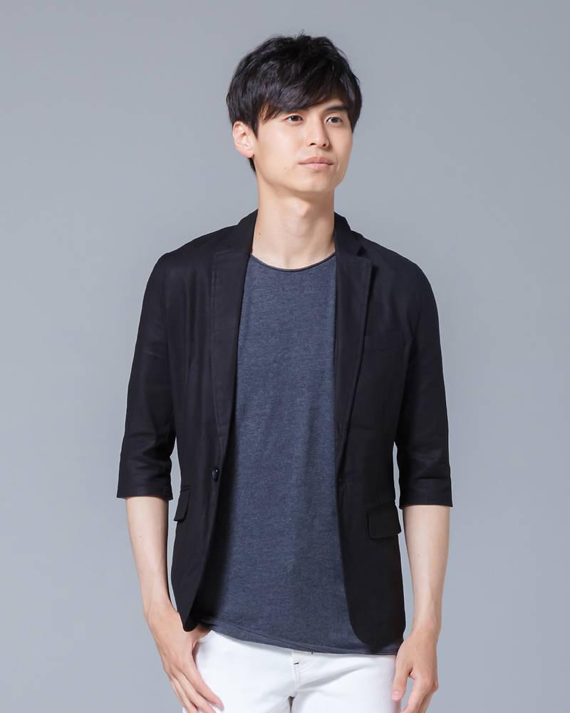 綿麻ストレッチ七分袖テーラードジャケット(ブラック)