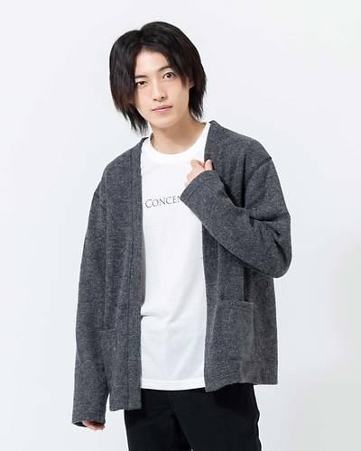 フェイクウールカーディガン+長袖Tシャツアンサンブル(2点セット)(チャコール)