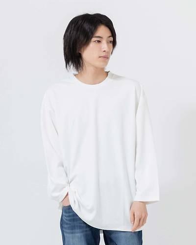 ポンチDS切替九分袖Tシャツ(ホワイト)