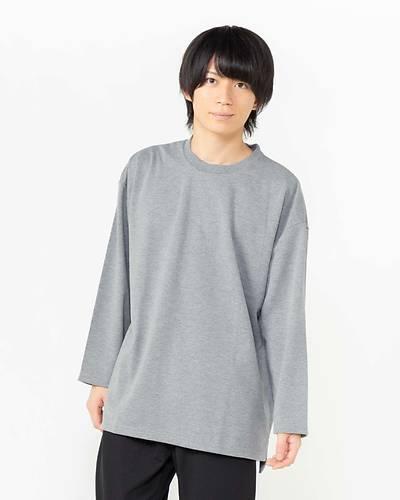 ポンチDS切替九分袖Tシャツ(グレー)