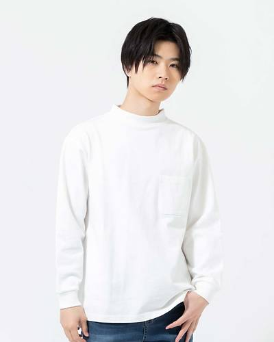 OE天竺モックネック長袖Tシャツ(ホワイト)