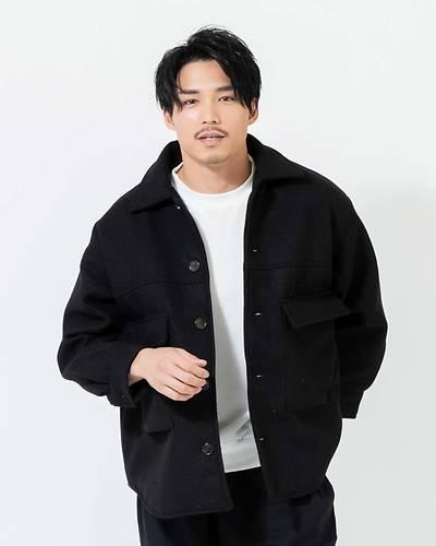 ポリメルトン中綿BIGシャツジャケット(ブラック)
