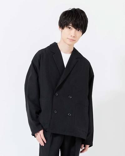 ポリトロWテーラード衿長袖シャツ(ブラック)