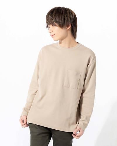 ポンチポケット長袖Tシャツ(ベージュ)