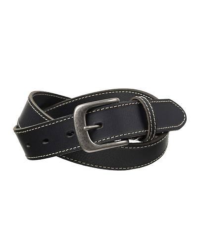 日本製牛革一枚物ステッチベルト(ブラック)