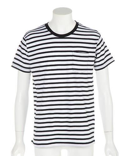 天笠ボーダー半袖Tシャツ(ホワイトxブラック)
