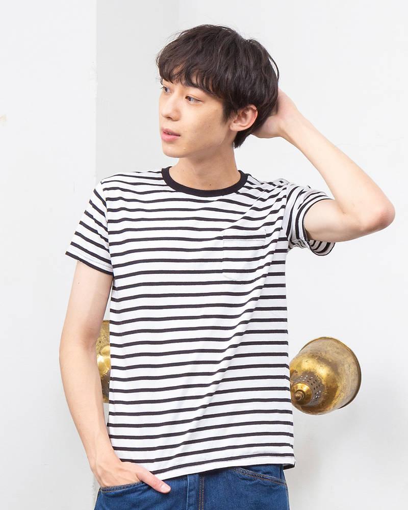 メンズ定番天笠ボーダー半袖Tシャツ