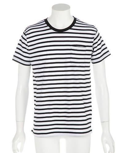 天笠ボーダー半袖Tシャツ(ホワイトxネイビー)