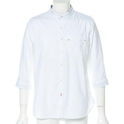 綿麻ストレッチバンドカラー七分袖シャツ(ホワイト)