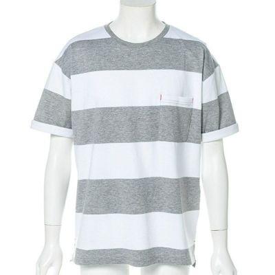 ルーズフィットボーダー半袖Tシャツ(グレー)