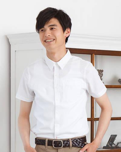 ストレッチブロード半袖シャツ(ホワイト)