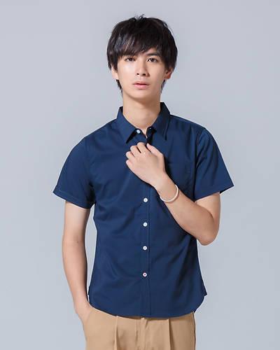 ストレッチブロード半袖シャツ(ネイビー)