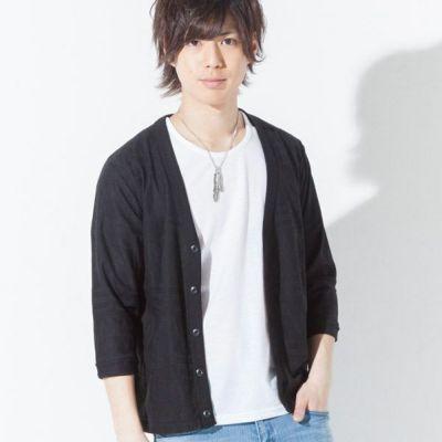 ジャガード七分袖カーディガン+半袖Tシャツアンサンブル(2点セット)(ブラック)