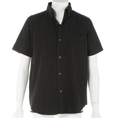 綿麻ドビー半袖シャツ+半袖Tシャツアンサンブル(2点セット)(ブラック)